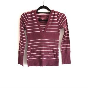 Limited Too Purple Pink Striped Hooded Long Sleeve 14 Girls